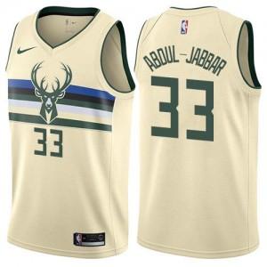 Nike NBA Maillots Basket Abdul-Jabbar Bucks #33 Enfant Blanc laiteux City Edition