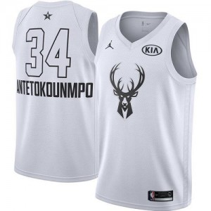Maillot Basket Giannis Antetokounmpo Bucks Blanc 2018 All-Star Game #34 Enfant Jordan Brand