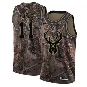 Maillots De Brook Lopez Milwaukee Bucks Camouflage Realtree Collection Enfant #11 Nike