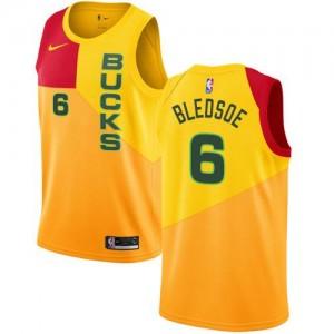 Nike NBA Maillots Bledsoe Milwaukee Bucks City Edition Homme #6 Jaune
