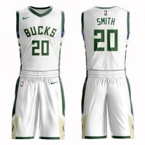 Nike NBA Maillots Basket Jason Smith Milwaukee Bucks Blanc No.20 Suit Association Edition Enfant