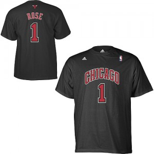 Adidas T-Shirt De Basket Bulls Homme & Enfant Noir Derrick Rose Game Time #1