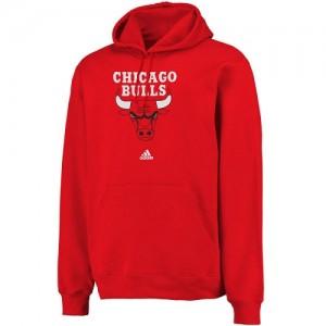 Adidas Hoodie De Chicago Bulls Logo Pullover Sweatshirt Homme Rouge