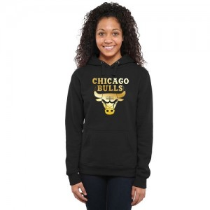NBA Hoodie Bulls Femme Gold Collection Ladies Pullover Noir