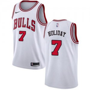Nike NBA Maillot De Basket Justin Holiday Chicago Bulls Enfant #7 Blanc Association Edition