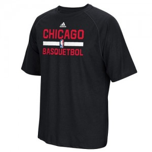 Adidas NBA Tee-Shirt Bulls Noir Noches Ene-Be-A Practicewear Performance Homme