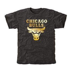 T-Shirt De Basket Chicago Bulls Homme Noir Gold Collection Tri-Blend
