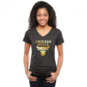 Tee-Shirt Bulls Femme Noir Gold Collection V-Neck Tri-Blend