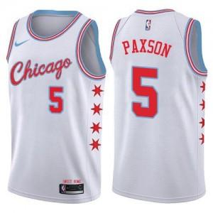 Nike NBA Maillots De John Paxson Chicago Bulls No.5 Blanc Homme City Edition