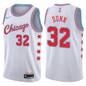 Maillots Dunn Chicago Bulls No.32 Blanc Homme City Edition Nike