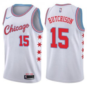 Maillots Hutchison Bulls Blanc Nike Homme #15 City Edition