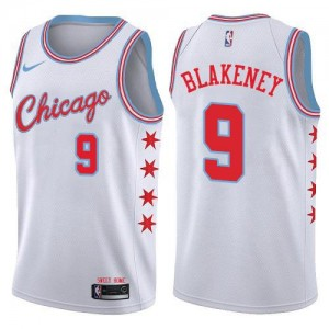 Nike Maillots De Basket Antonio Blakeney Chicago Bulls Blanc Homme No.9 City Edition
