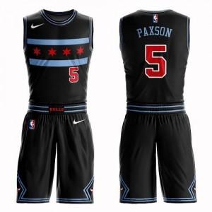 Nike Maillot John Paxson Bulls Noir Suit City Edition No.5 Homme