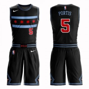 Nike NBA Maillot De Bobby Portis Chicago Bulls Noir Homme No.5 Suit City Edition