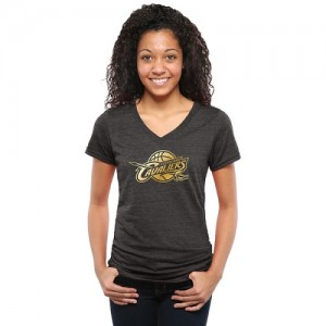 T-Shirt Basket Cavaliers Gold Collection V-Neck Tri-Blend Femme Noir