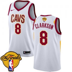 Nike NBA Maillots De Jordan Clarkson Cleveland Cavaliers No.8 2018 Finals Bound Association Edition Enfant Blanc