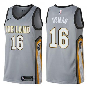 Maillot Osman Cavaliers Homme Nike #16 Gris City Edition