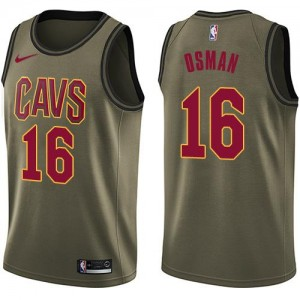 Nike NBA Maillots Basket Cedi Osman Cleveland Cavaliers vert #16 Enfant Salute to Service
