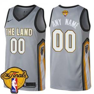 Maillot Personnaliser De Cleveland Cavaliers Homme Gris Nike 2018 Finals Bound City Edition