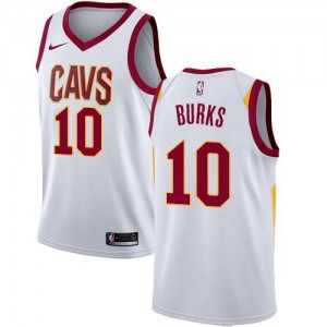 Maillots Basket Burks Cavaliers #10 Association Edition Homme Blanc Nike