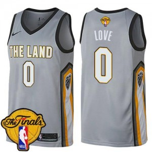 Nike NBA Maillots Basket Kevin Love Cavaliers 2018 Finals Bound City Edition Gris Homme No.0