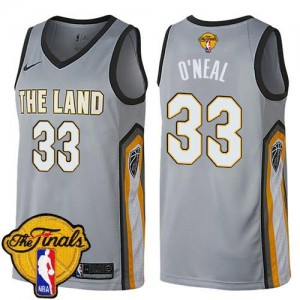 Nike Maillots De Basket O'Neal Cavaliers Enfant Gris 2018 Finals Bound City Edition No.33