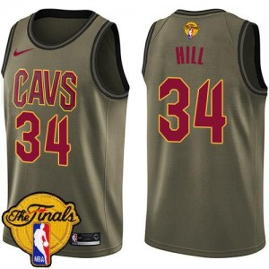 Maillot Basket Tyrone Hill Cleveland Cavaliers No.34 vert Enfant Nike 2018 Finals Bound Salute to Service