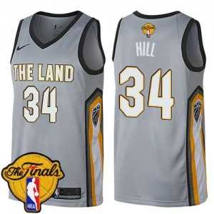 Nike Maillot Tyrone Hill Cavaliers 2018 Finals Bound City Edition No.34 Gris Enfant
