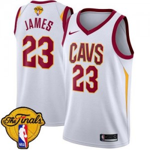 Nike Maillots De LeBron James Cleveland Cavaliers No.23 Enfant 2018 Finals Bound Association Edition Blanc