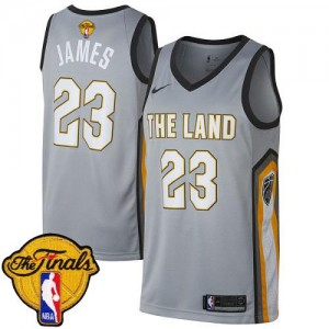 Nike Maillots De Basket James Cavaliers Gris No.23 Enfant 2018 Finals Bound City Edition