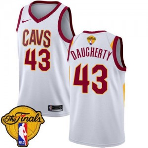 Nike NBA Maillots De Basket Daugherty Cavaliers #43 Blanc 2018 Finals Bound Association Edition Homme