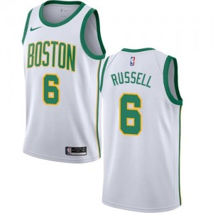Maillots Basket Bill Russell Celtics Nike Blanc Homme #6 City Edition
