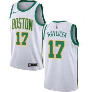 Nike NBA Maillots De Havlicek Boston Celtics No.17 Blanc City Edition Homme