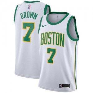 Nike NBA Maillots Brown Celtics City Edition No.7 Homme Blanc