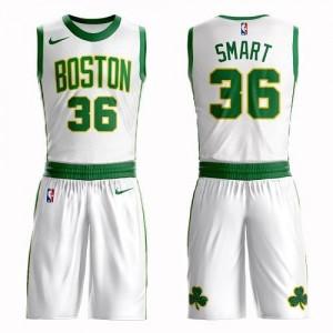 Nike Maillots Marcus Smart Boston Celtics Suit City Edition Homme Blanc #36