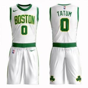 Nike Maillot De Jayson Tatum Boston Celtics No.0 Enfant Blanc Suit City Edition