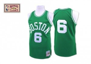 Maillots Bill Russell Boston Celtics Homme No.6 vert Throwback Mitchell and Ness