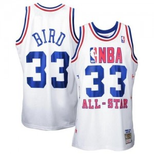 Mitchell and Ness NBA Maillot De Larry Bird Boston Celtics Blanc 1990 All Star Throwback No.33 Homme