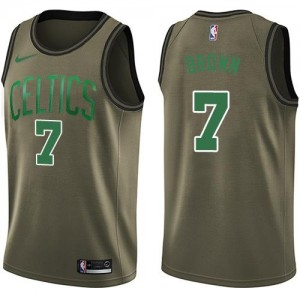 Maillot Jaylen Brown Boston Celtics vert No.7 Nike Homme Salute to Service