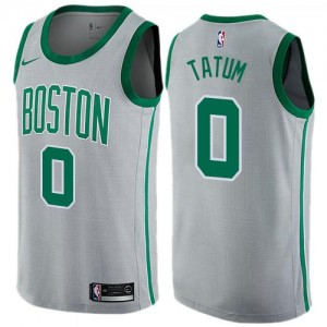 Nike NBA Maillots Basket Tatum Celtics Gris #0 Enfant City Edition
