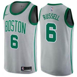 Nike Maillots De Bill Russell Celtics Homme No.6 Gris City Edition