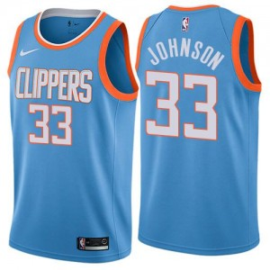 Maillot De Wesley Johnson LA Clippers City Edition No.33 Nike Enfant Bleu