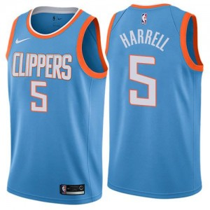 Nike Maillots Basket Montrezl Harrell LA Clippers City Edition Bleu No.5 Enfant