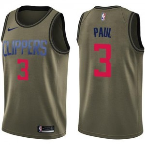 Maillot Paul Los Angeles Clippers No.3 Enfant Nike vert Salute to Service