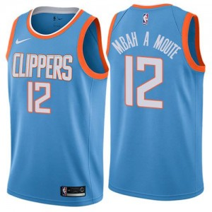 Nike Maillots De Basket Luc Mbah a Moute LA Clippers #12 City Edition Bleu Enfant