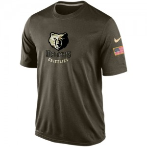Nike Tee-Shirt De Basket Grizzlies Homme Olive Salute To Service KO Performance Dri-FIT