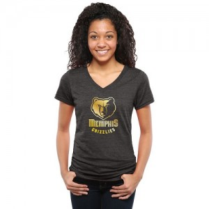 T-Shirt De Basket Grizzlies Gold Collection V-Neck Tri-Blend Femme Noir