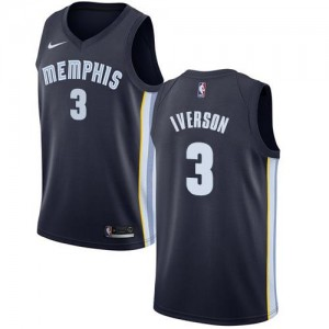 Nike NBA Maillots Basket Allen Iverson Memphis Grizzlies Icon Edition #3 Homme bleu marine