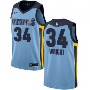 Nike Maillot Basket Wright Grizzlies Homme No.34 Statement Edition Bleu clair