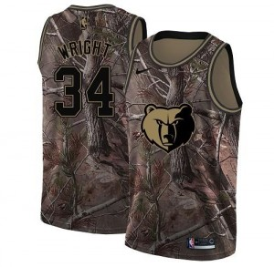 Nike NBA Maillots Basket Brandan Wright Memphis Grizzlies #34 Camouflage Realtree Collection Homme